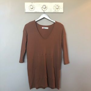 Free People Beach Brown Ribbed Tunic Pullover Top